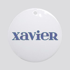 Xavier Blue Glass Round Ornament