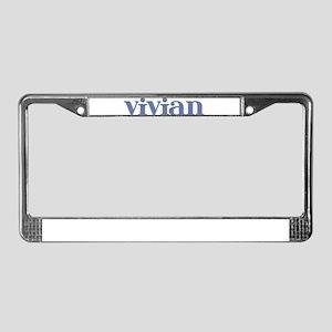Vivian Blue Glass License Plate Frame