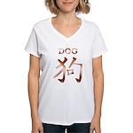 Dog in Kanji Women's V-Neck T-Shirt