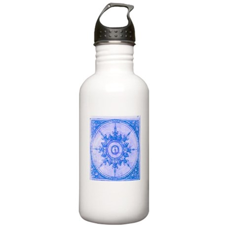 Blue Wind Rose Stainless Water Bottle 1.0L