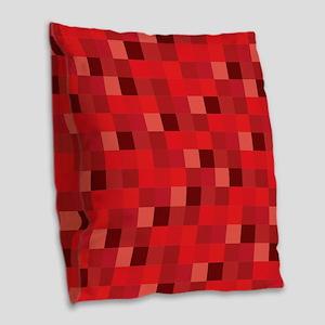 Red Pixelated Pattern | Gamer Burlap Throw Pillow