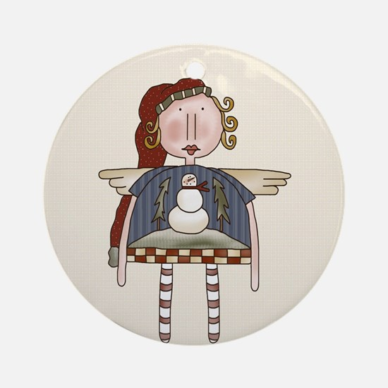 Angel Snowman Keepsake Three Ornament (Round)