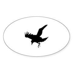 Black Crow Sticker (Oval)