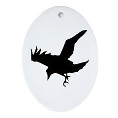 Black Crow Ornament (Oval)