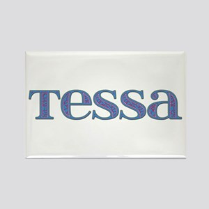 Tessa Blue Glass Rectangle Magnet
