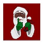 African Santa Clause Christmas Tile Coaster