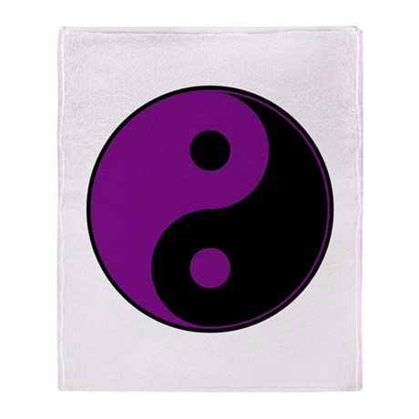 Purple-Black Yin Yang Throw Blanket