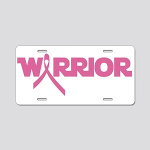 Pink Ribbon Warrior Aluminum License Plate