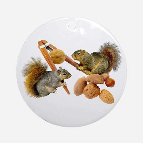 Squirrels Cracking Nuts Ornament (Round)