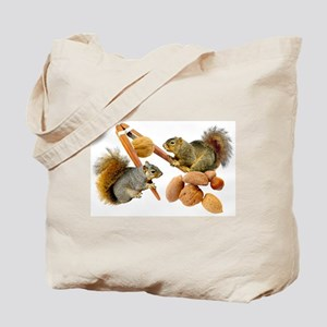 Squirrels Cracking Nuts Tote Bag