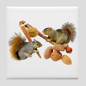 Squirrels Cracking Nuts Tile Coaster
