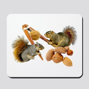 Squirrels Cracking Nuts Mousepad