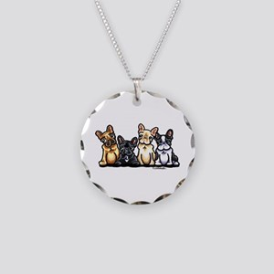 Four Frenchies Necklace Circle Charm