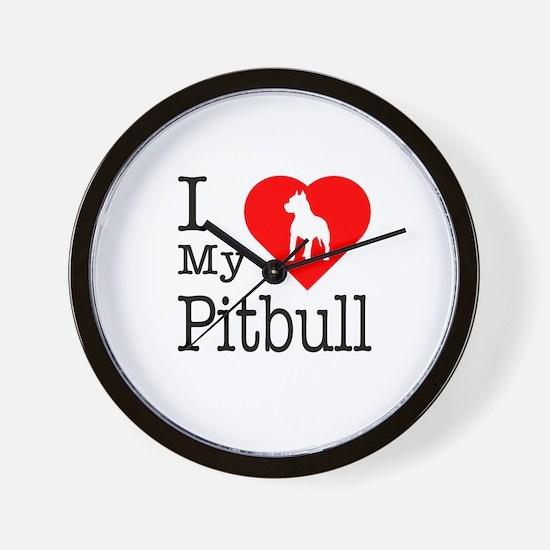 I Love My Pitbull Terrier Wall Clock
