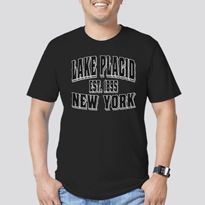 Lake Placid Old Style Black Men's Fitted T-Shirt (