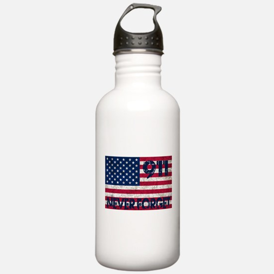 911 Grunge Flag Water Bottle