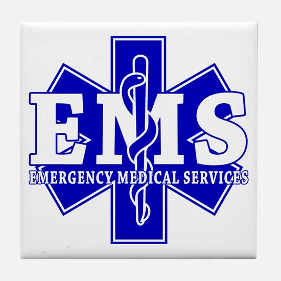 Star of Life EMT - blue Tile Coaster