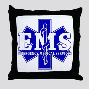 Star of Life EMT - blue Throw Pillow
