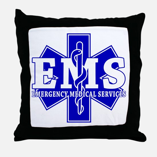 Star of Life EMT - blue Throw Pillow