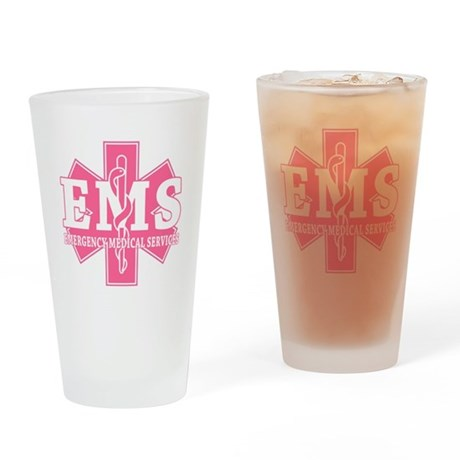 Star of Life EMS (pink) Drinking Glass