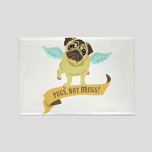 Pugs Not Drugs (Angel) Rectangle Magnet