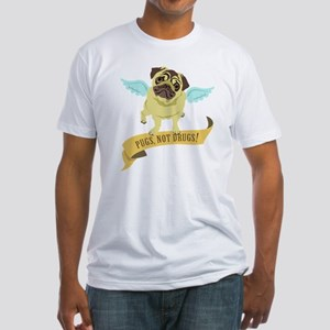 Pugs Not Drugs (Angel) Fitted T-Shirt