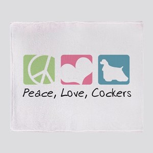 Peace, Love, Cockers Throw Blanket