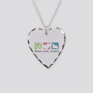 Peace, Love, Cockers Necklace Heart Charm