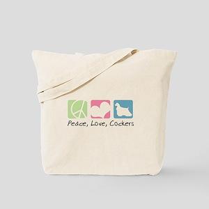 Peace, Love, Cockers Tote Bag