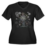 Clock Women's Plus Size V-Neck Dark T-Shirt