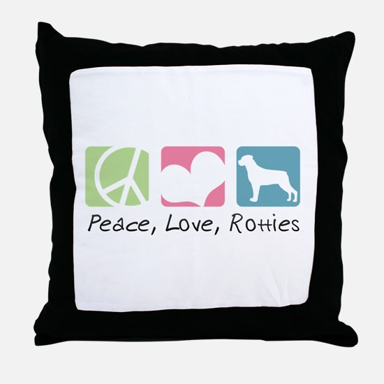 Peace, Love, Rotties Throw Pillow