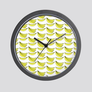 Yellow Bananas Pattern Wall Clock