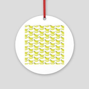 Yellow Bananas Pattern Ornament (Round)