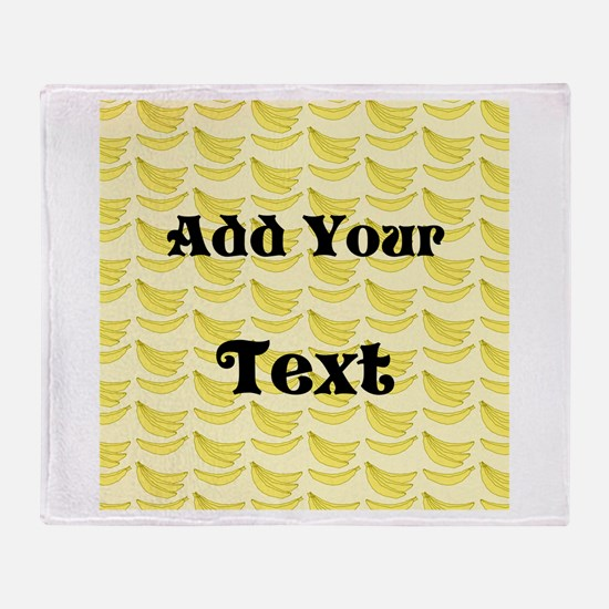 Banana Pattern with Custom Text Throw Blanket
