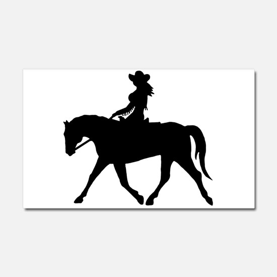 Cute Cowgirl on Horse Car Magnet 20 x 12