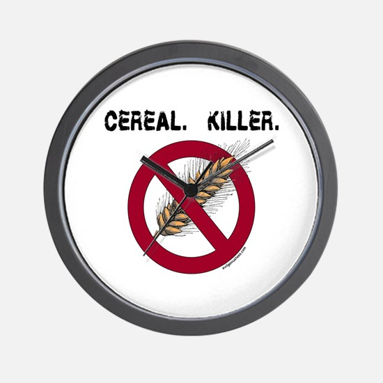 Cereal. Killer. with wheat, gluten free Wall Clock