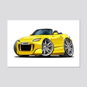 s2000 Yellow Car Mini Poster Print