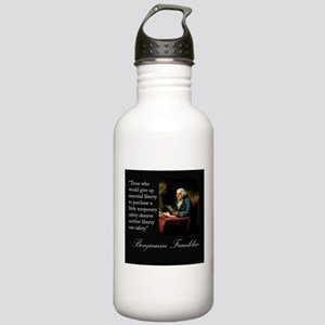 Ben Franklin Quote Portrait Stainless Water Bottle