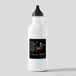 Ben Franklin Quote Portrait Stainless Water Bottle