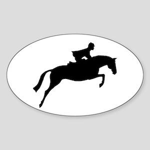 h/j horse & rider Oval Sticker
