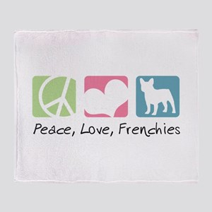 Peace, Love, Frenchies Throw Blanket