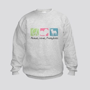 Peace, Love, Frenchies Kids Sweatshirt