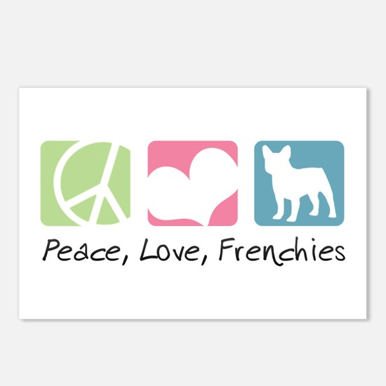 Peace, Love, Frenchies Postcards (Package of 8)