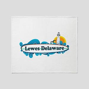 Lewes Beach DE - Surf Design Throw Blanket
