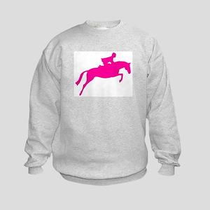 h/j horse & rider pink Kids Sweatshirt