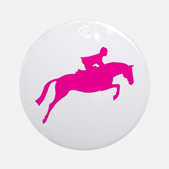 h/j horse & rider pink Ornament (Round)
