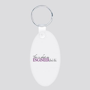 What an ENGINEER looks like Aluminum Oval Keychain