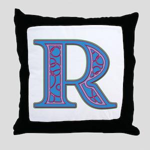 R Blue Glass Throw Pillow