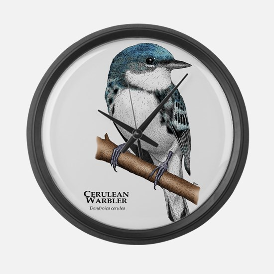 Cerulean Warbler Large Wall Clock