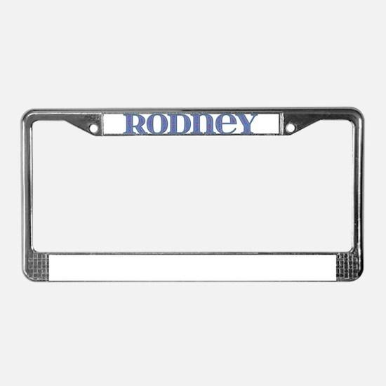 Rodney Blue Glass License Plate Frame